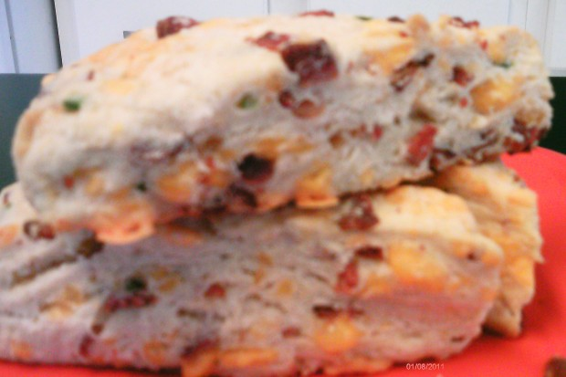 Bacon Cheddar Scones stacked side-view