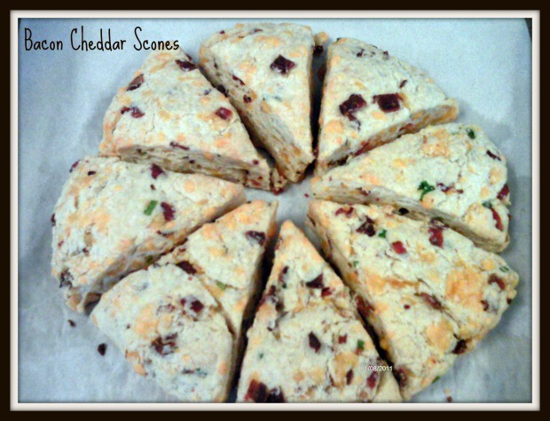 Bacon Cheddar Scones wheel framed