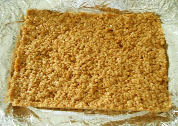 Biscoff Rice Krispies on foil
